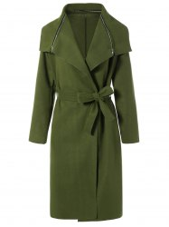 Zipped Belted Long Shawl Wrap Coat -