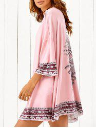Bat-Wing Sleeve Printed Beach Cover Up -