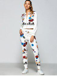 Roses Print Zipper Up Running Jacket+Pants - WHITE
