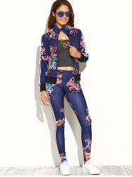 Casual Flower Print Zipper Up Top+Pants