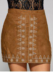 Sun and Small Tree Embroidery Faux Suede Skirt - CAMEL