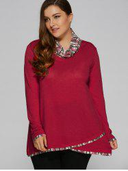 Plus Size Cowl Neck Overlay Blouse -