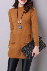 Mock Neck Woolen Slit Sweater