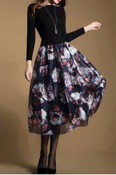 Floral Knitted Long Sleeve Midi Swing Dress