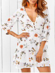 Plunging Neck Back Cutout Casual Short Flowy Dress -