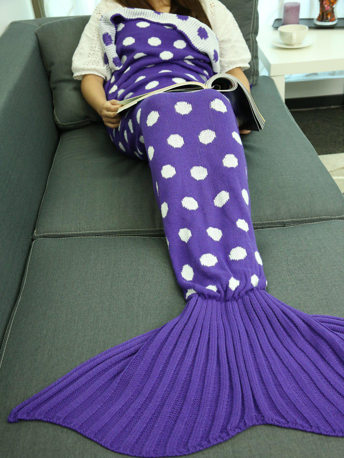 Cheap Comfortable Polka Dot Knitted Sleeping Bag Mermaid Tail Blanket