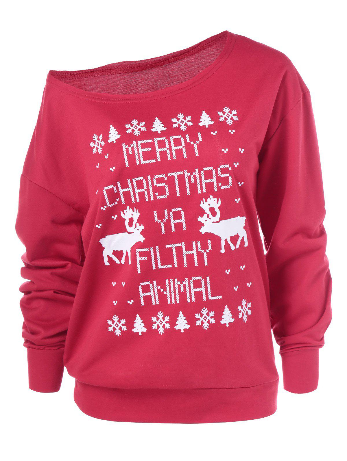 Affordable Merry Christmas Pullover Skew Neck Sweatshirt