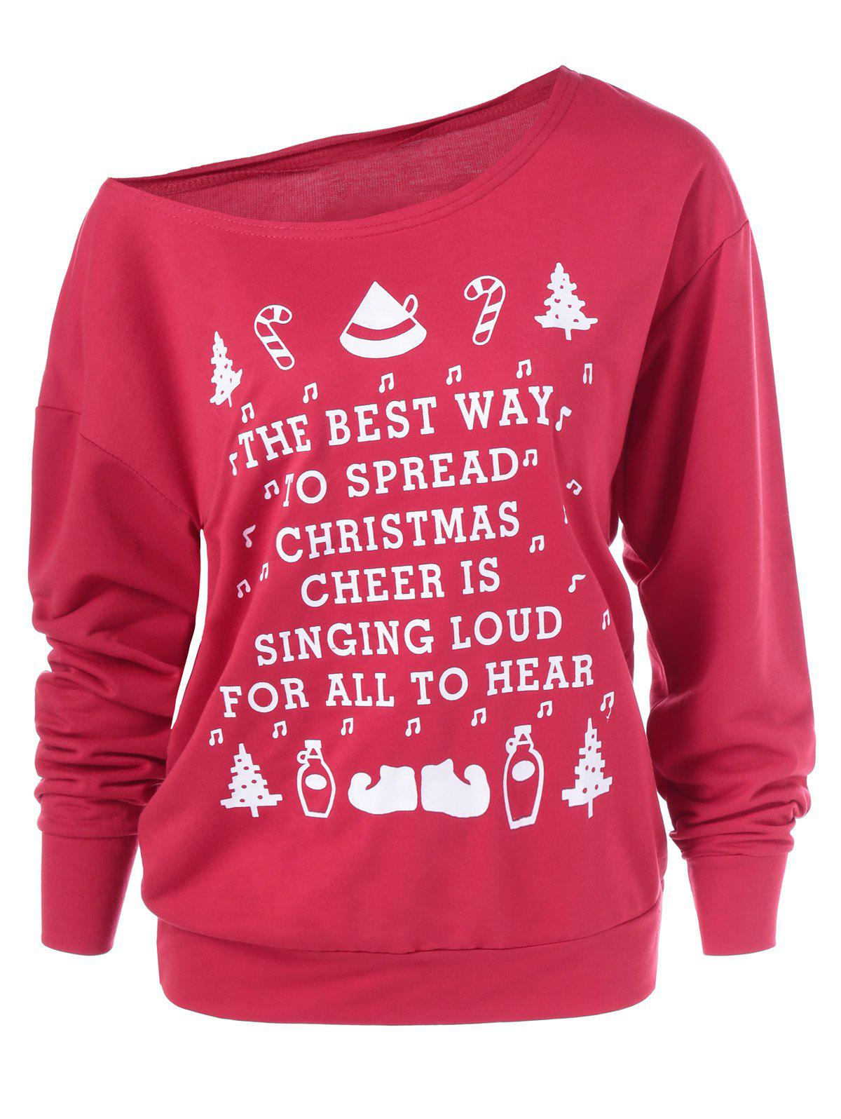 Christmas Graphic Pullover Skew Neck SweatshirtWOMEN<br><br>Size: XL; Color: RED; Material: Spandex; Shirt Length: Regular; Sleeve Length: Full; Style: Streetwear; Pattern Style: Letter; Season: Fall,Spring,Winter; Weight: 0.400kg; Package Contents: 1 x Sweatshirt;