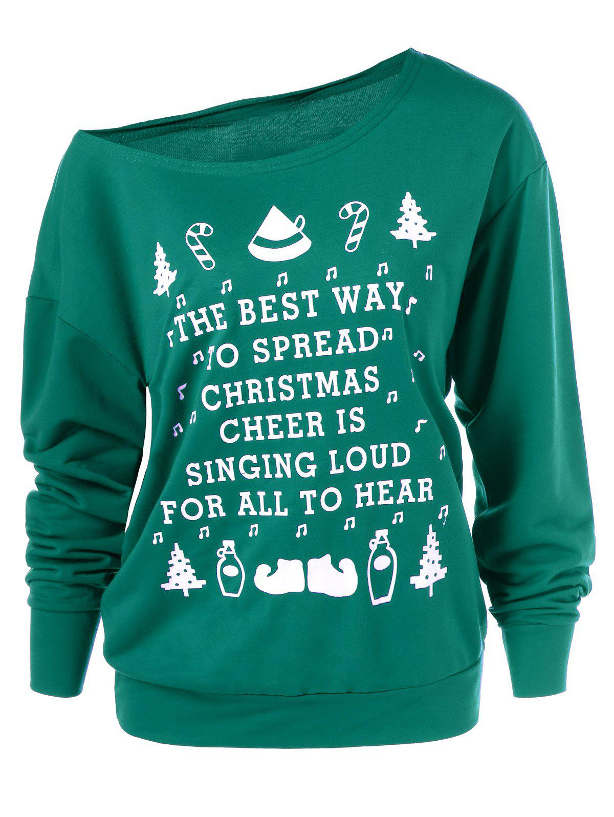 Image of Christmas Graphic Pullover Skew Neck Green Sweatshirt