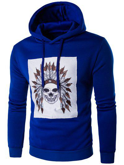 Hooded Chief Skull Print Hoodie à manches longues