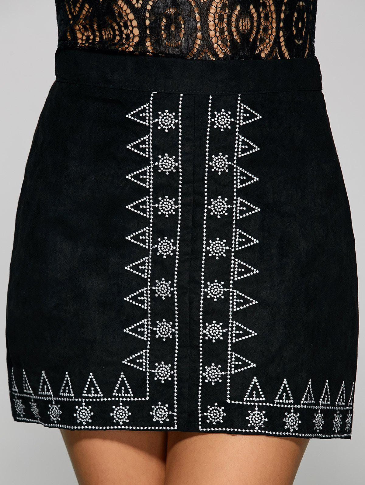 Fancy Sun and Small Tree Embroidery Faux Suede Skirt