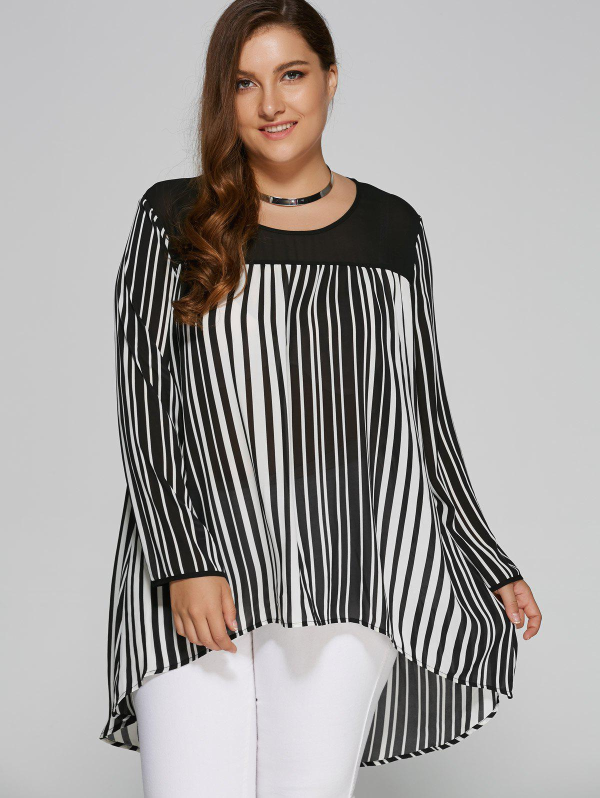 Plus Size High Low Hem Striped BlouseWOMEN<br><br>Size: 3XL; Color: WHITE AND BLACK; Material: Polyester; Shirt Length: Long; Sleeve Length: Full; Collar: Scoop Neck; Style: Casual; Season: Fall,Spring,Summer; Pattern Type: Striped; Weight: 0.380kg; Package Contents: 1 x Blouse;
