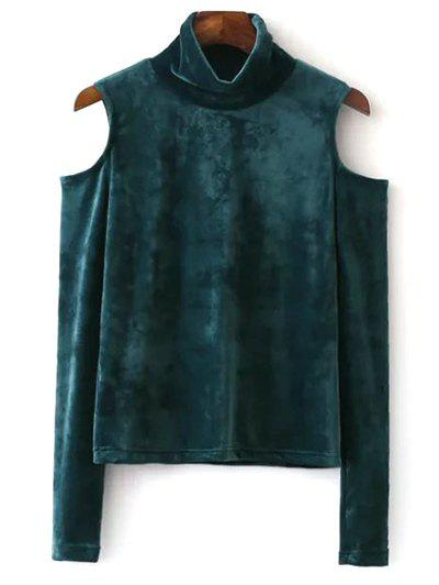 Best High Neck Cold Shoulder Velour Top