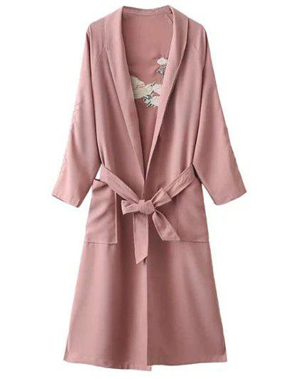 Store Floral Embroidered Side Slit Belted Maxi Long Duster Coat
