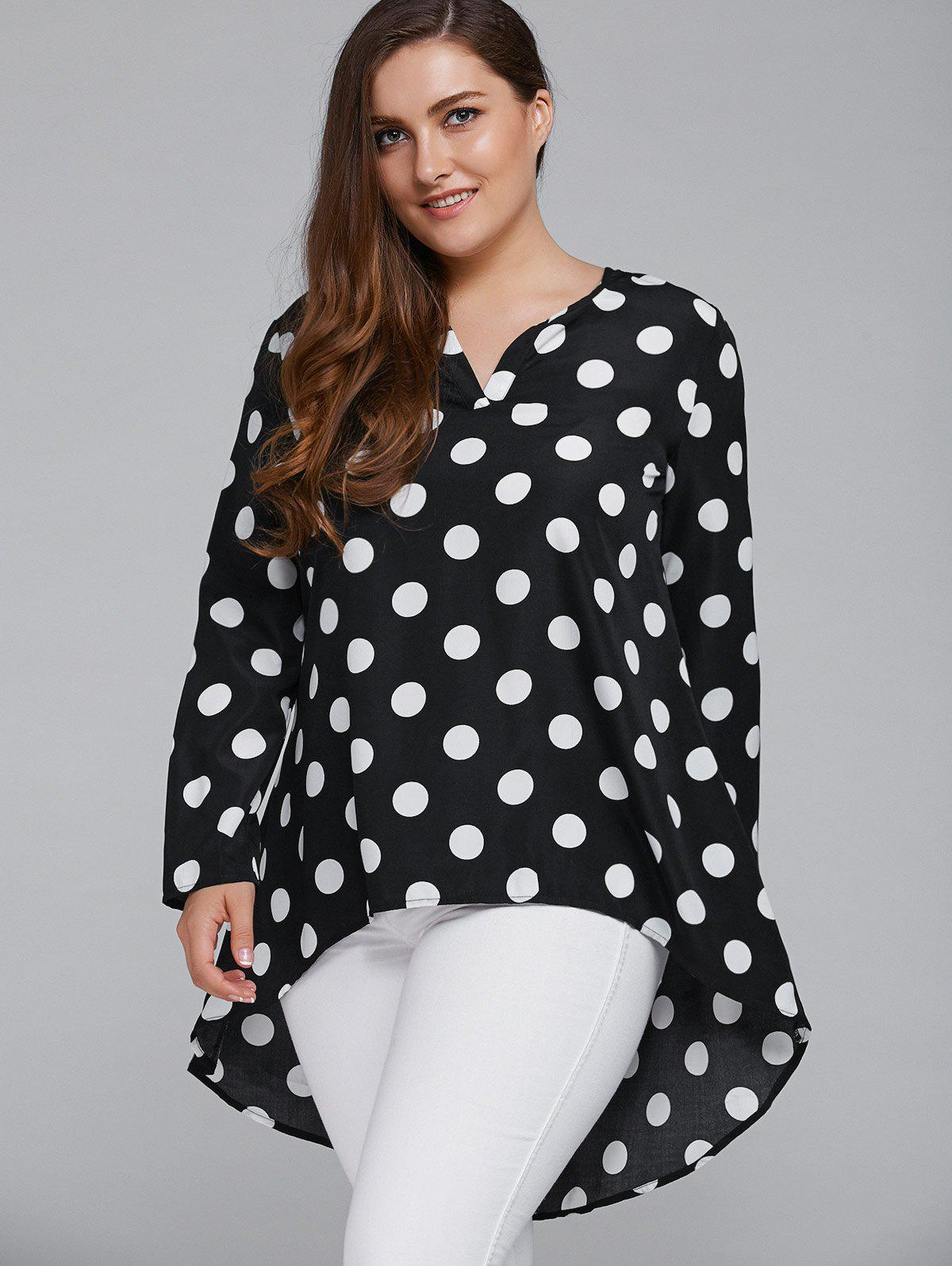 Plus Size Polka Dot High Low BlouseWOMEN<br><br>Size: 5XL; Color: WHITE AND BLACK; Material: Polyester; Shirt Length: Long; Sleeve Length: Full; Collar: Round Neck; Style: Casual; Season: Fall,Spring,Summer; Pattern Type: Polka Dot; Weight: 0.3700kg; Package Contents: 1 x Blouse;