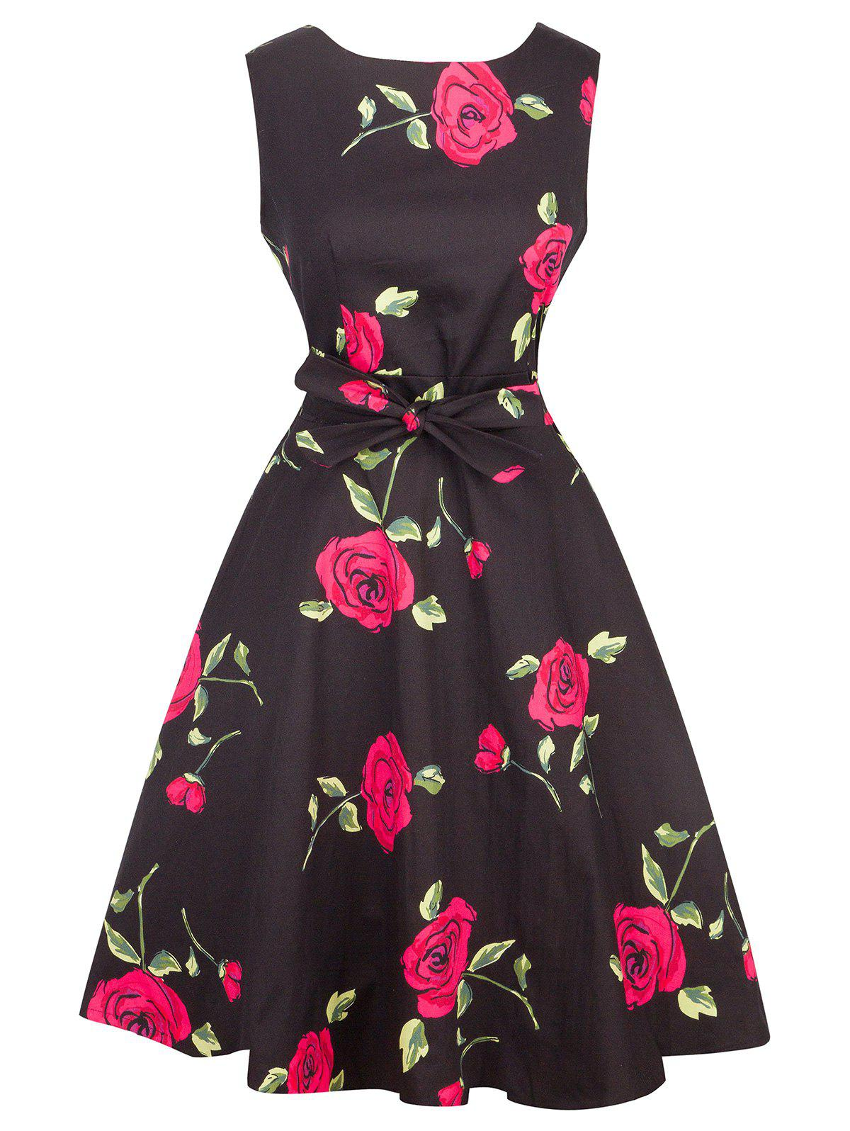 Trendy Vintage Tie-Waist Rose Print Slimming Dress