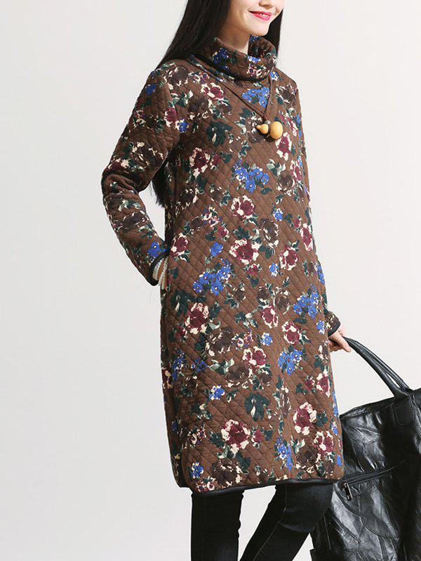 Affordable Padded Flower Print Thicken Dress