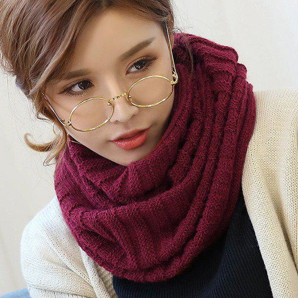 Online Knitted Pure Color Turtleneck Twist Infinity Scarf