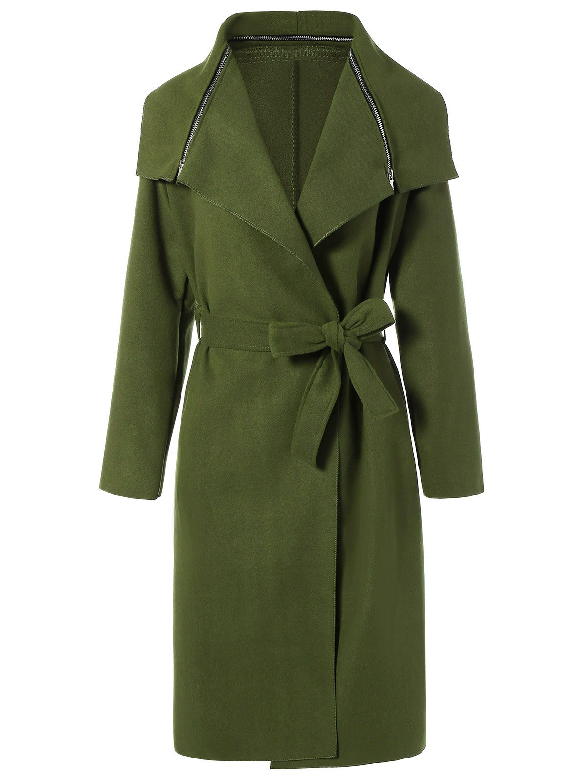 Outfits Zipped Belted Long Shawl Wrap Coat