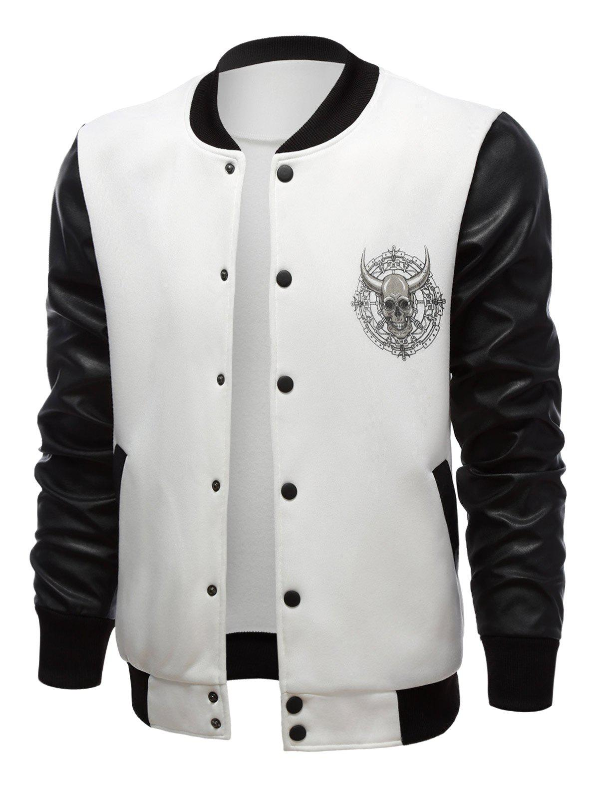 Trendy Stand Collar Skull Print Color Block PU-Leather Spliced Jacket