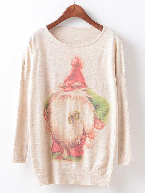 Christmas Loose Printed SweaterWOMEN<br><br>Size: ONE SIZE; Color: OFF-WHITE; Type: Pullovers; Material: Cotton; Sleeve Length: Full; Collar: Scoop Neck; Style: Fashion; Pattern Type: Print; Season: Fall,Winter; Weight: 0.320kg; Package Contents: 1 x Sweater;
