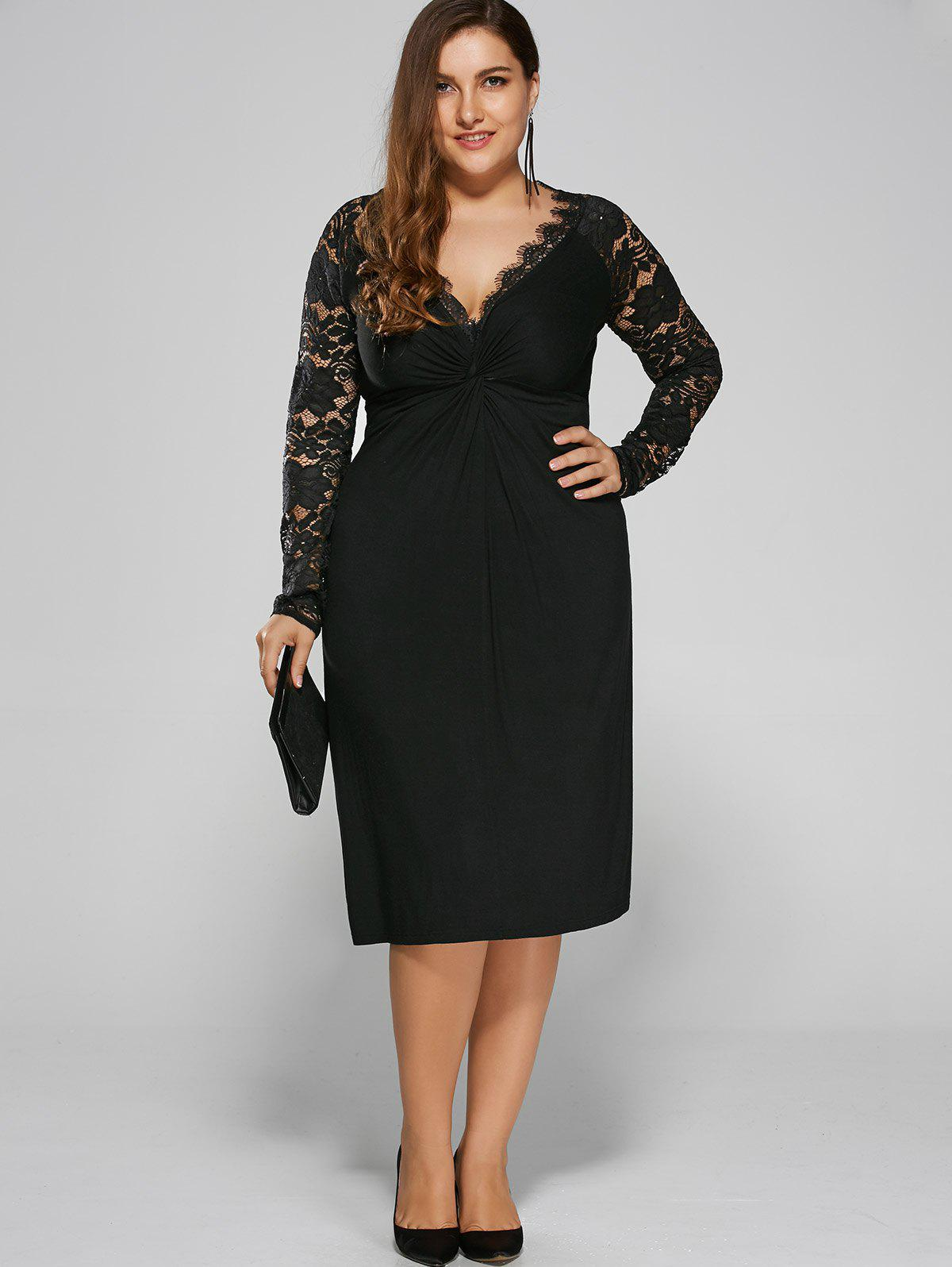 Plus Size Twist Front Lace Insert Fitted DressWOMEN<br><br>Size: XL; Color: BLACK; Style: Brief; Material: Polyester,Spandex; Silhouette: Straight; Dresses Length: Knee-Length; Neckline: Plunging Neck; Sleeve Length: Long Sleeves; Pattern Type: Floral; With Belt: No; Season: Fall,Spring; Weight: 0.3900kg; Package Contents: 1 x Dress;