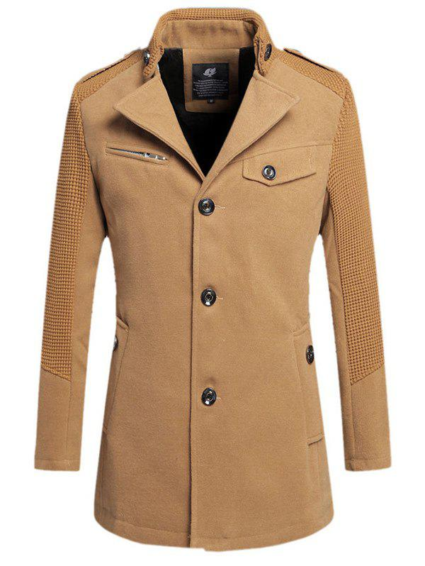 Unique Single Breasted Turn Down Collar Woolen Coat