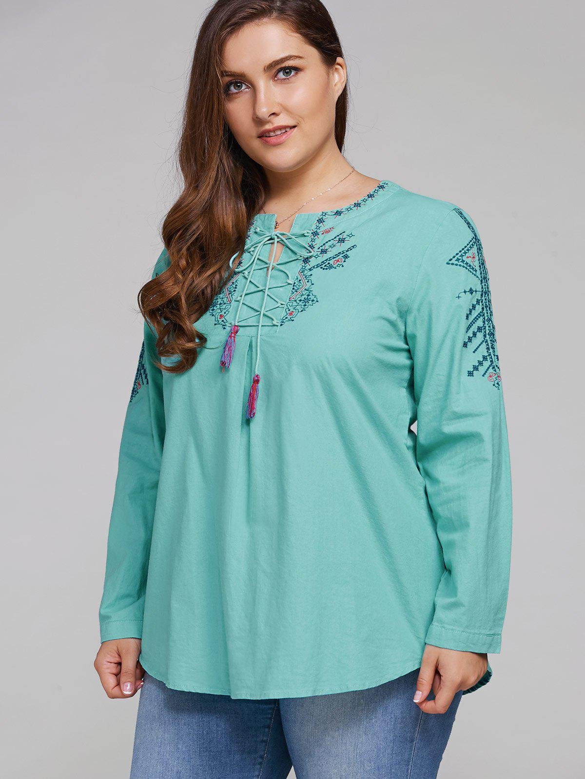 Trendy Plus Size Embroidered Lace Up Tassel Linen Top