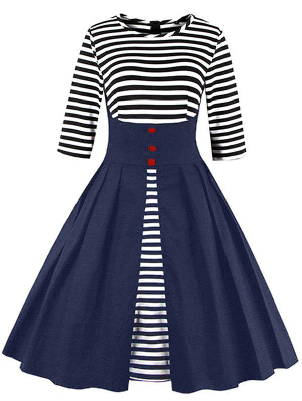 Affordable Midi Striped Formal Skater Cocktail Dress