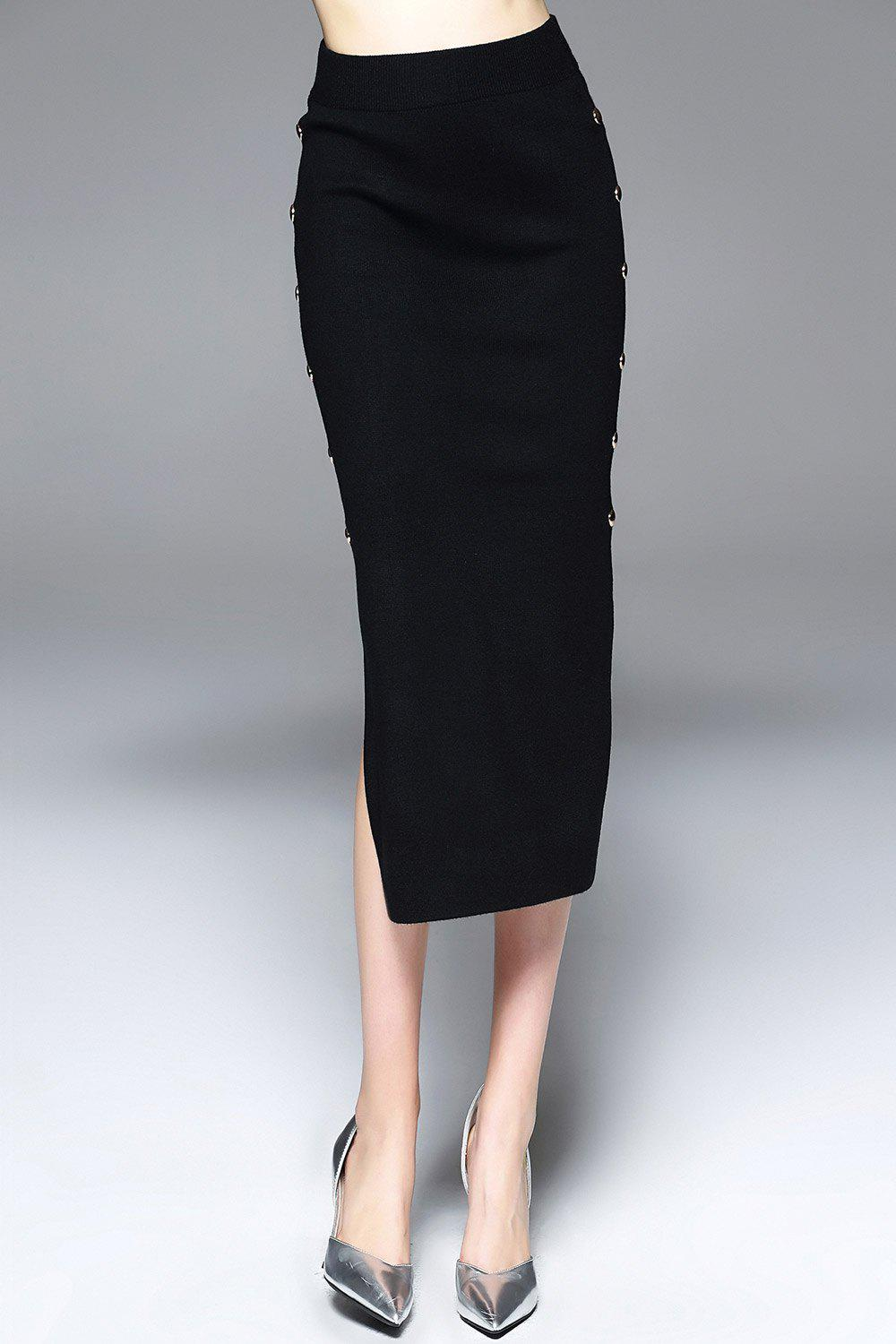 Affordable Side Slit Tea Length Jersey Skirt