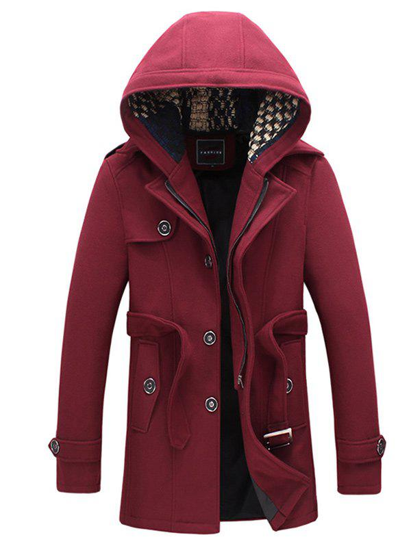 Shop Belted Plush Fleece Hooded Woolen Tweed Coat
