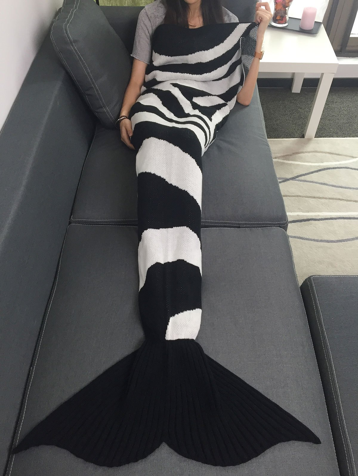New Color Block Knitted Mermaid Tail Blanket