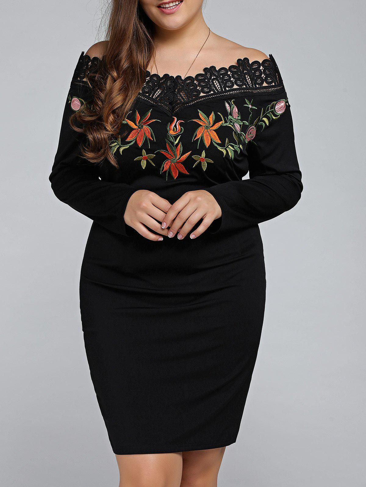 Sale Plus Size Embroidered Off The Shoulder Sheath Dress