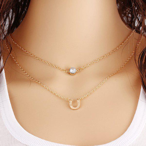 Shops U-Shaped Horseshoe Rhinestone Layered Necklace
