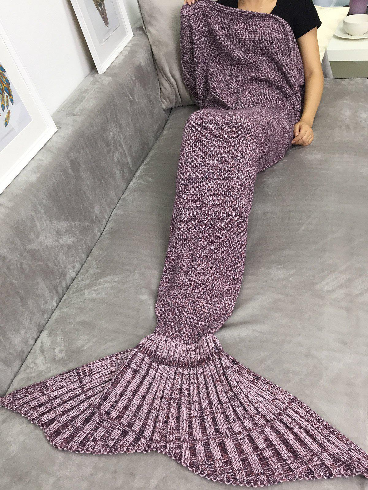 Thicken Crochet Sofa Bed Sleeping Bag Wrap Mermaid BlanketHOME<br><br>Color: FLAX; Type: Knitted; Material: Acrylic; Pattern Type: Stripe; Size(L*W)(CM): 170*80; Weight: 0.810kg; Package Contents: 1 x Blanket;