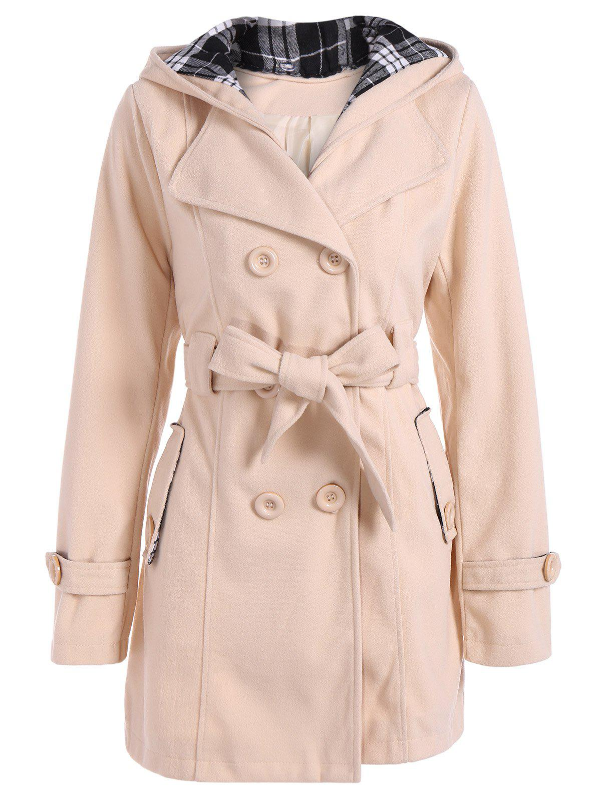 8aa46f507 53% OFF  Hooded Double Breasted Belted Long Trench Coat