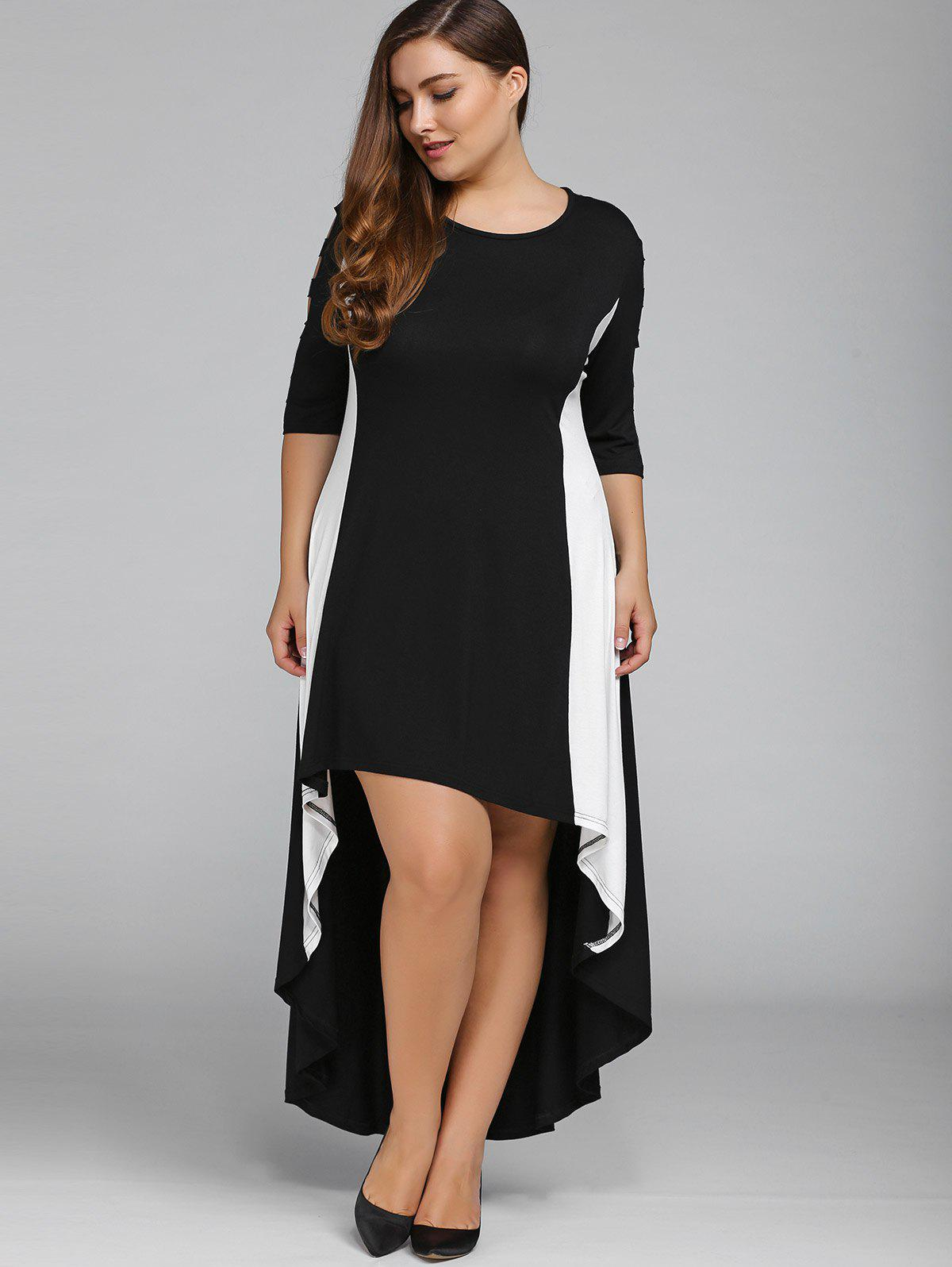 Color Block Plus Size High Low Maxi Carpet Prom DressWOMEN<br><br>Size: 2XL; Color: BLACK; Style: Brief; Material: Polyester; Silhouette: Asymmetrical; Dresses Length: Ankle-Length; Neckline: Jewel Neck; Sleeve Length: Long Sleeves; Pattern Type: Others; With Belt: No; Season: Fall,Spring; Weight: 0.400kg; Package Contents: 1 x Dress;