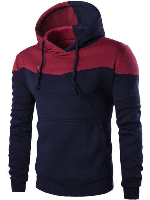 Contrast Color Drawstring Pullover HoodieMEN<br><br>Size: L; Color: CADETBLUE; Material: Polyester; Shirt Length: Regular; Sleeve Length: Full; Style: Fashion; Weight: 0.398kg; Package Contents: 1 x Hoodie;