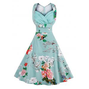 Retro Sweetheart Neck Sleeveless Floral Dress