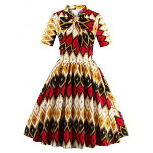 Retro Bow Tie High Waisted Printed Dress - Ginger - L