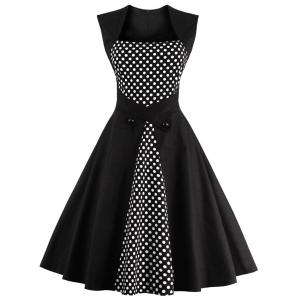 Polka Dot Semi Formal Midi Skater Dress - Black - 4xl