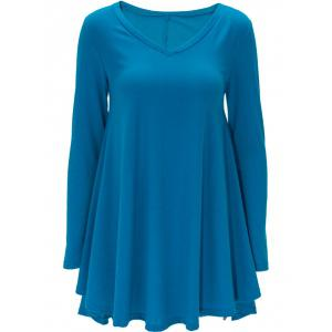 Long Sleeve Casual Short T-shirt Dress - Medium Blue - L