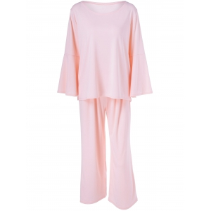 Bell Sleeve Plain T-Shirt + Pocket Design Pants Twinset - Pink - 2xl