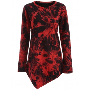 Tie Dye Long Sleeve Asymmetric Short T-Shirt Dress