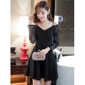 Cold Shoulder Lace Splicing Swing Dress - Black - S