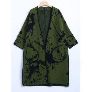 Chinese Painting Woolen Cardigan - Army Green - One Size