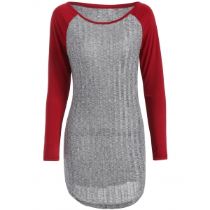 Raglan Sleeve Ribbed Knit T Shirt Dress