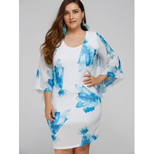 Plus Size Batwing Sleeve Leaves Print Bodycon Dress - Blue - 3xl