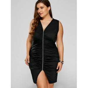 Plus Size Zip Ruched Bandage Club Dress - Black - Xl