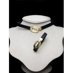 Faux Leather Geometric Alloy Choker Set